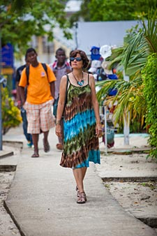 Tourist on Placencia Side Walk